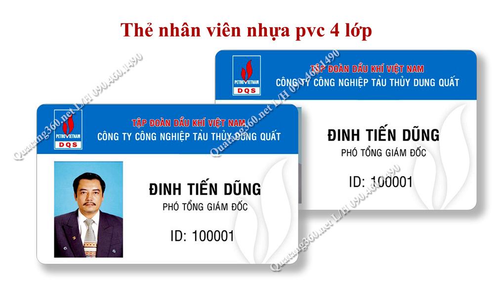 thẻ nhân viên bằng nhựa pvc 4 lớp