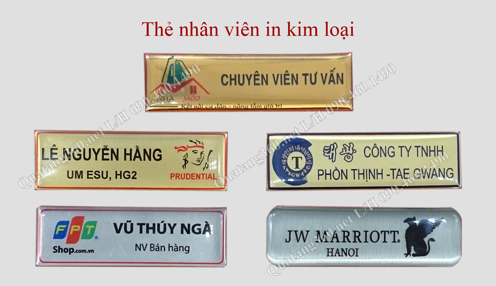 Mẫu thẻ tên in kim loại