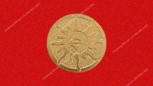 huy hiệu đồng mạ vàng hình tròn, nền sần